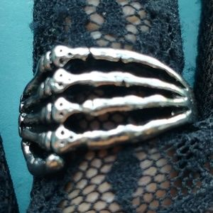 Skeleton Hand Steel Ring, size 7.75